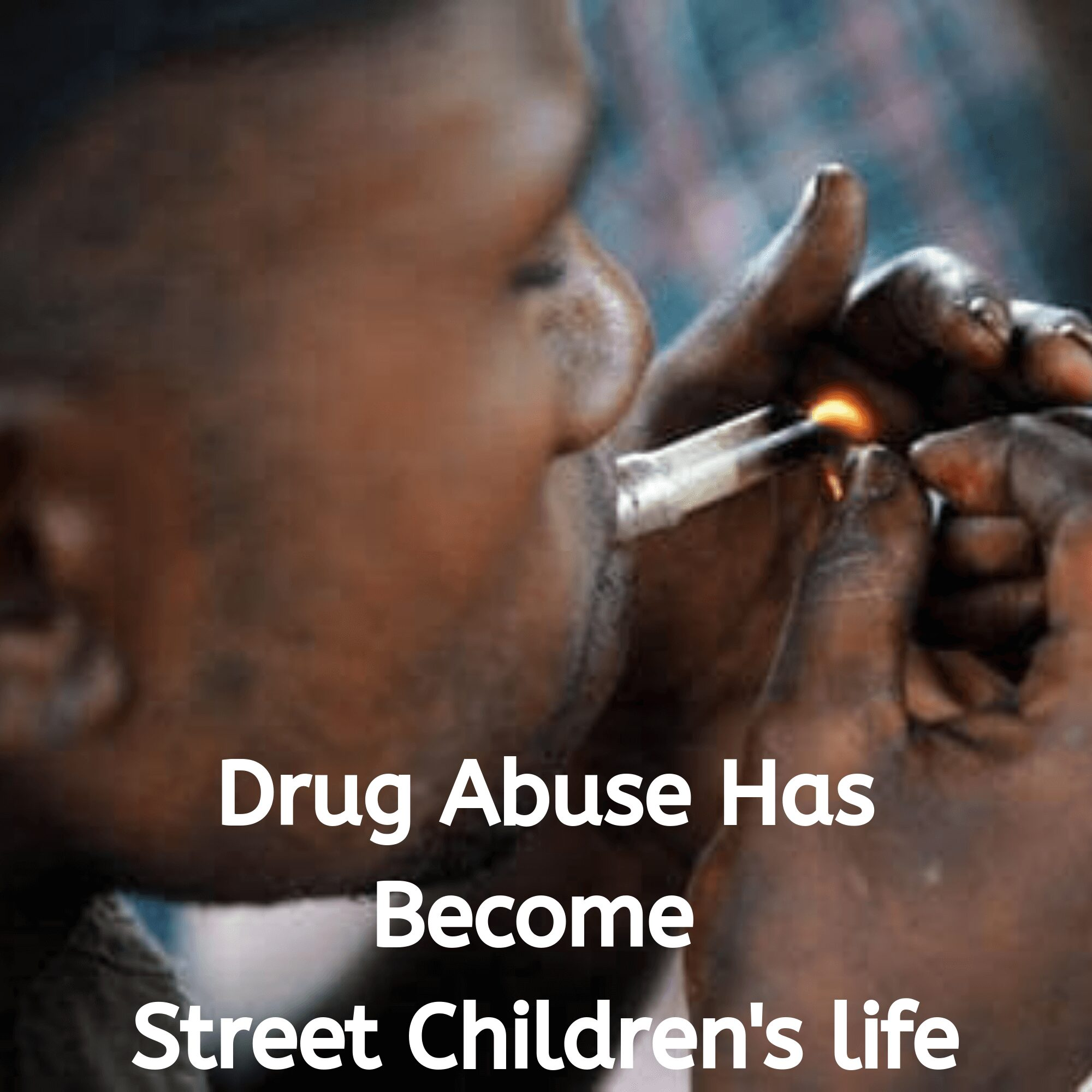 a street child abusing drugs