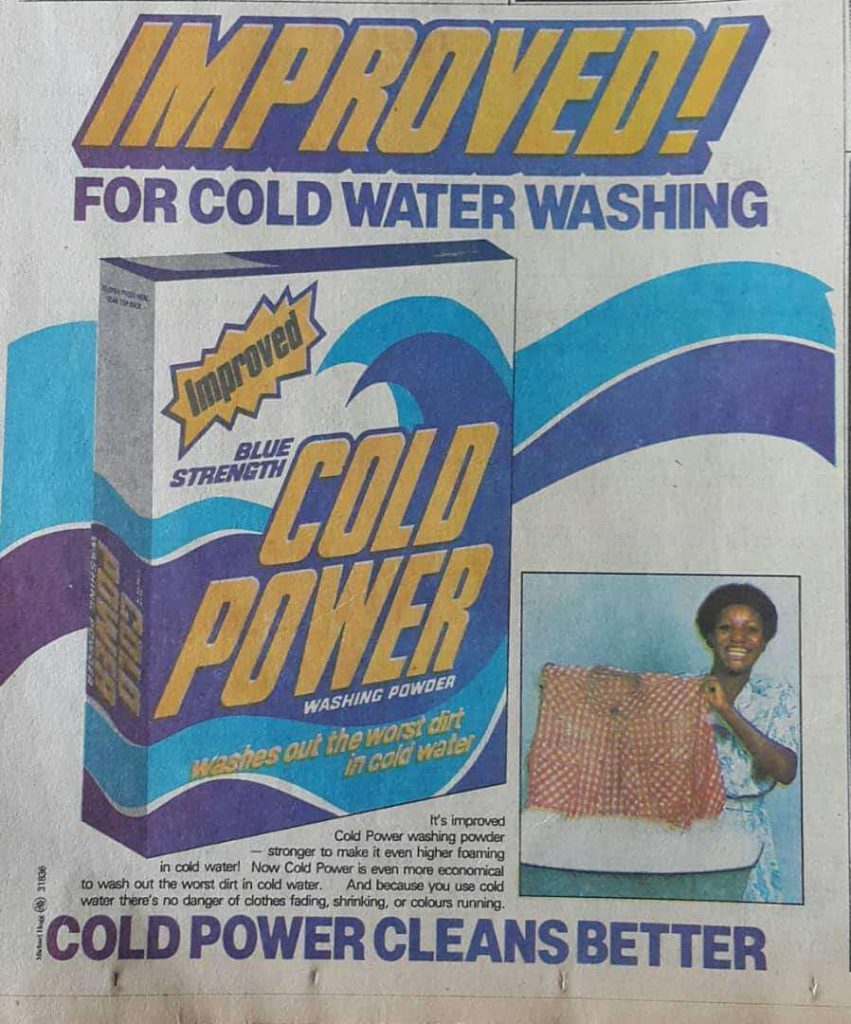 Old Cold Power Newspaper Advert