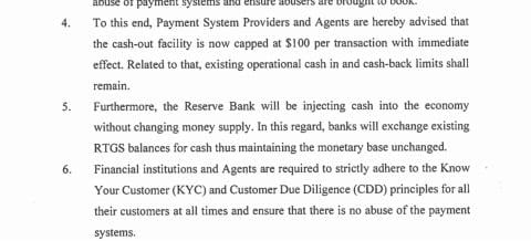 RBZ PRESS STATEMENT CASHIN AND CASHOUT AND CASHBACK FACILITIES