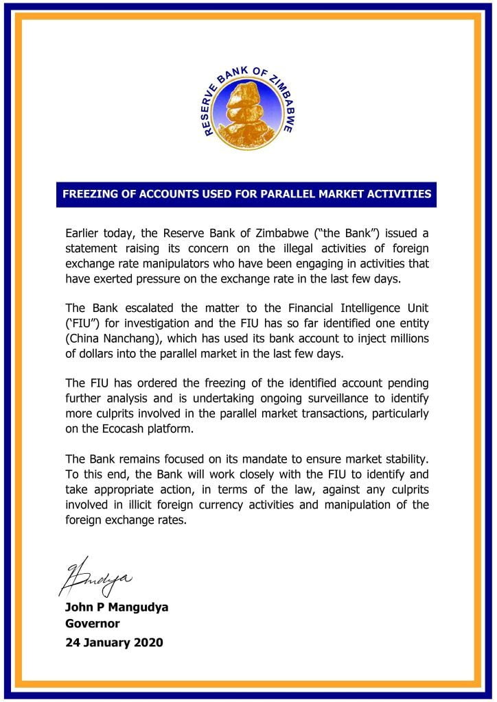 RBZ Freezes Account of Chinese Firm Accused of Fueling Forex Rates On The Black Market