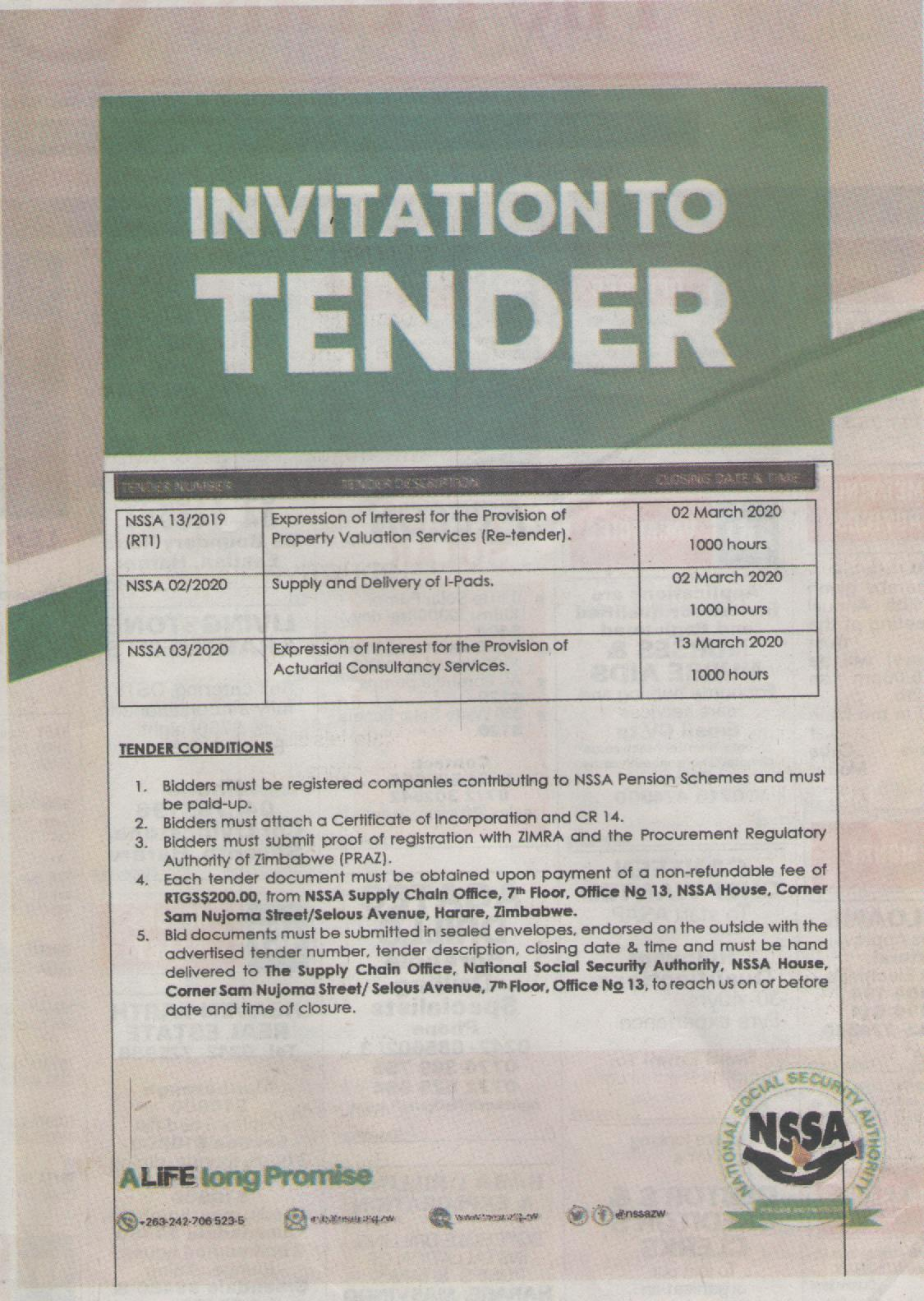 NSSA Invitation to Tender