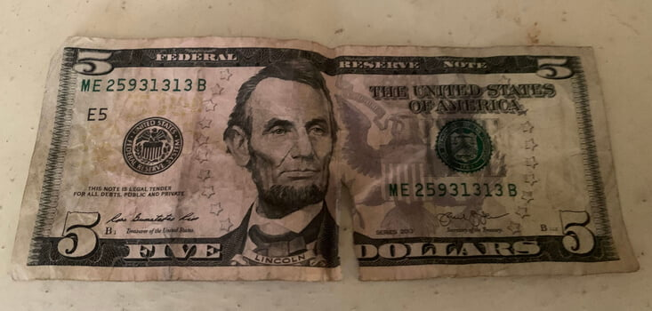 Torn USD Notes In Zimbabwe